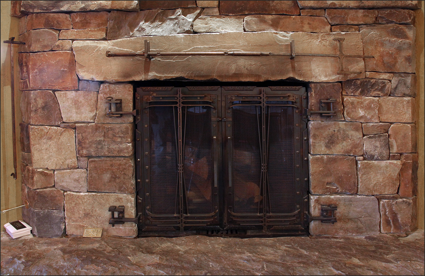 Fireplace Front Square with Crossing Metal Andrew Parent