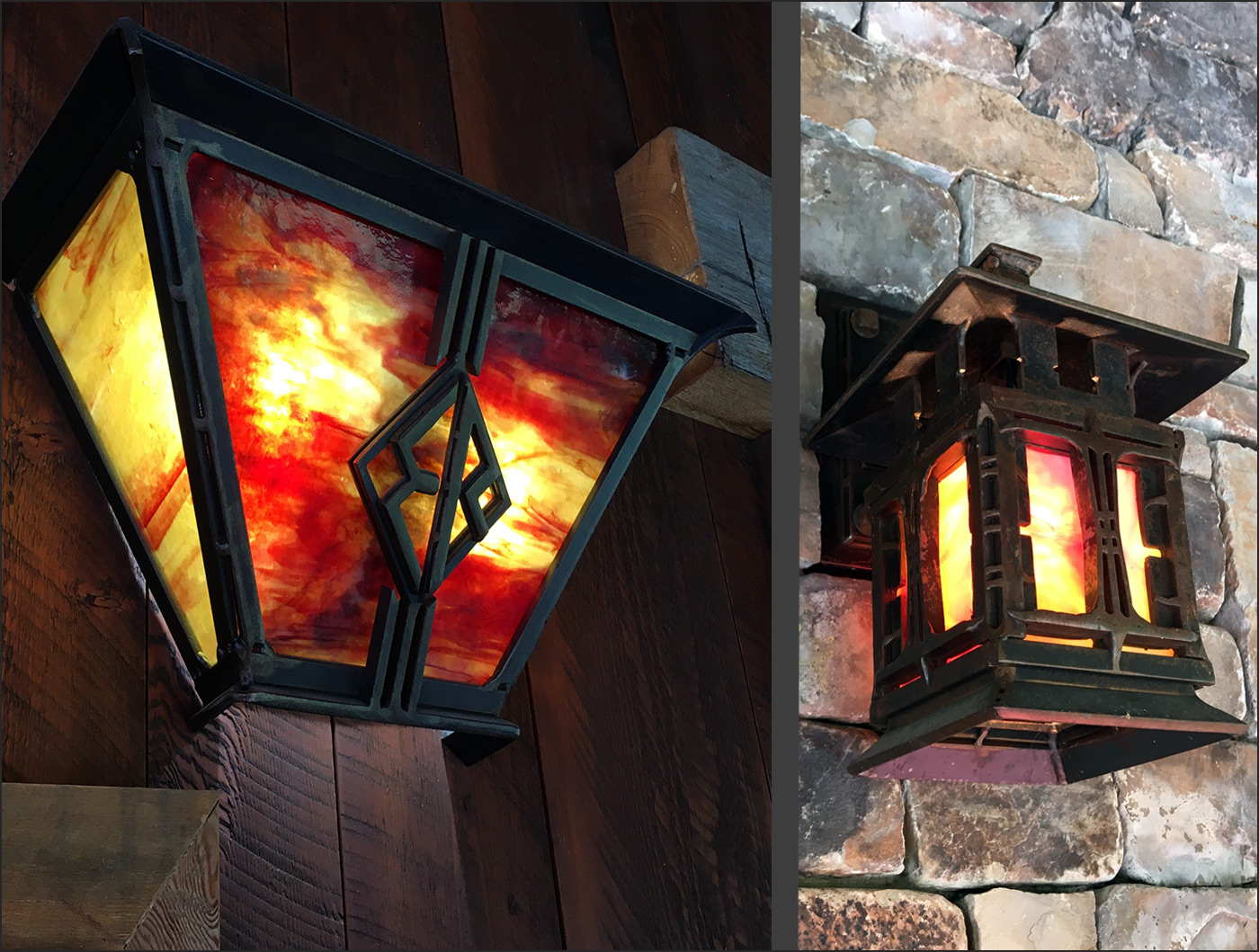 Outdoor Sconces with Art Glass Andrew Parent