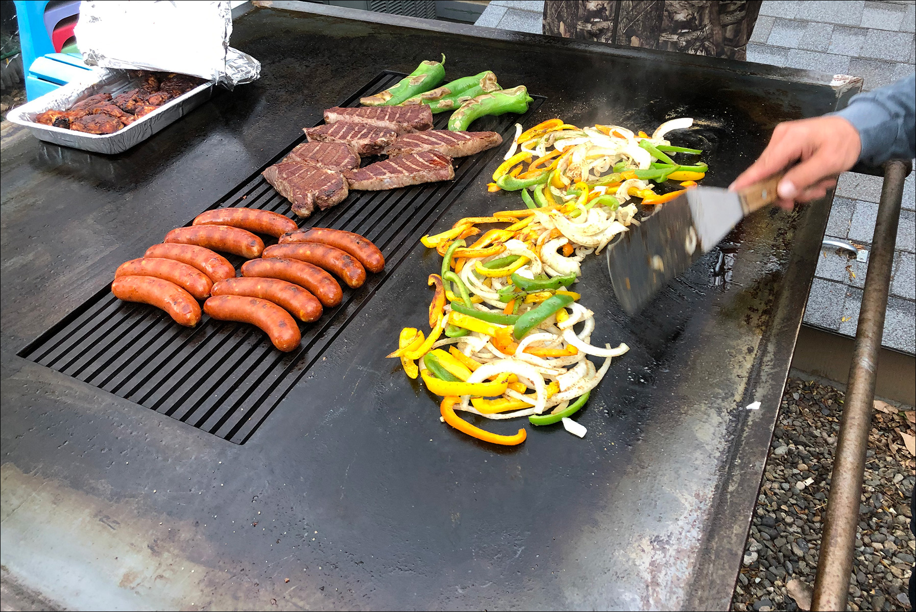 Brats Steaks Veggies on the Peacemaker Grill Andrew Parent