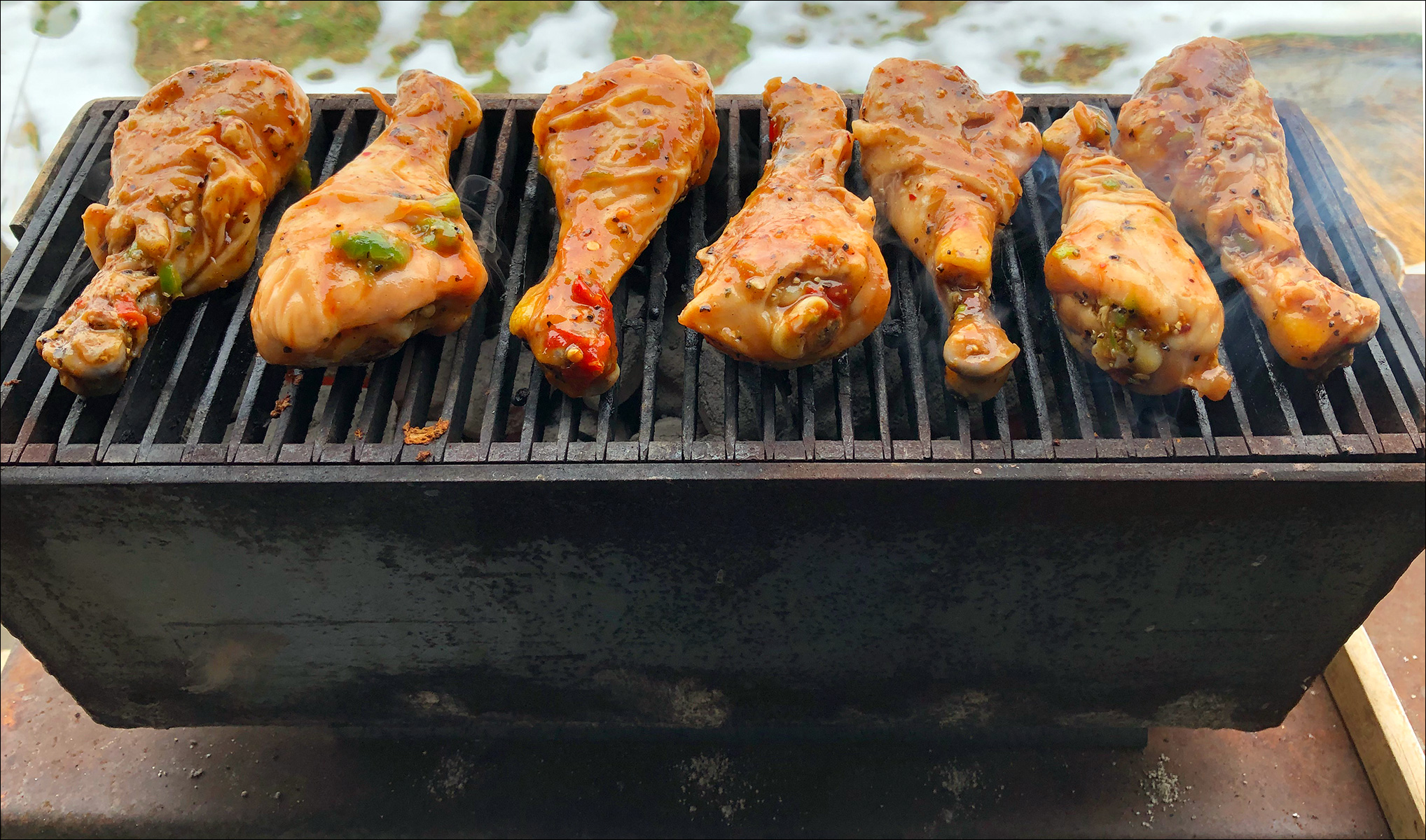 Chicken Drumsticks on a Mini Peacemaker Grill Andrew Parent