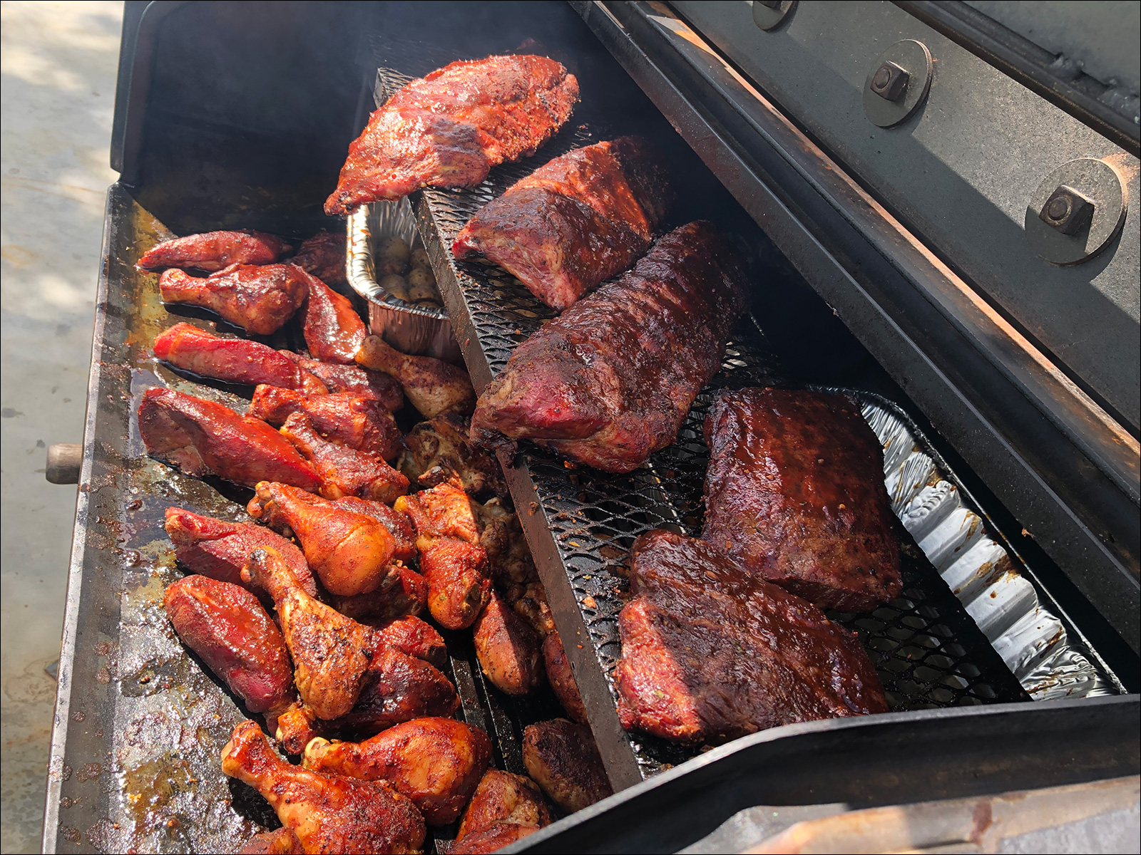 Ribs and Drumsticks on a Peacemaker Grill Andrew Parent